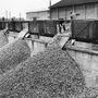 1957-ben így ürítették ki az almaszállító vagonokat egy herefordi gyárban.