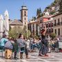 Flamenco táncos az utcán, Granada