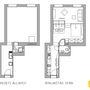 A lakás alaprajza átalakítás előtt és utána.