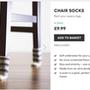"""""""Nincs többé összekarcolt padló, és elviselhetetlen székcsikorgás"""" – reklámozza furcsa látványt nyújtó  asztalzokniját a firebox.com, aki 9.99 fontot, 3609 forintot kér a négy darab kis zoknit tartalmazó csomagért."""