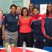 Michelle Obama Candace Parker, Lindsay Whalen, Jennifer Gillom, Seimone Augustus, Sylvia Fowles, Angel McCoughtry, Tina Charles és Asjha Jones társaságában.