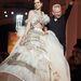 Jean-Paul Gaultier és két fejjel magasabb modellje  Párizsban