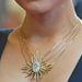 A nyaklánc gyémántai összesen 14.67 karátot tesznek ki, a lánc 18 karátos arany.