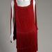 1925-ben tervezett piros selyem chiffon ruha Coco Chaneltől