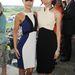 A Nyomorultak színésznője, Samantha Barks kékben, fehérben és barátnője, Gemma Chan.