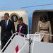 Az elnöki család megérkezett Belfastba, az időjárás nem túl barátságos.