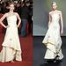 Jennifer Lawrence Rómában, a modell pedig a kifutón viselte a madártej színű ruhát.