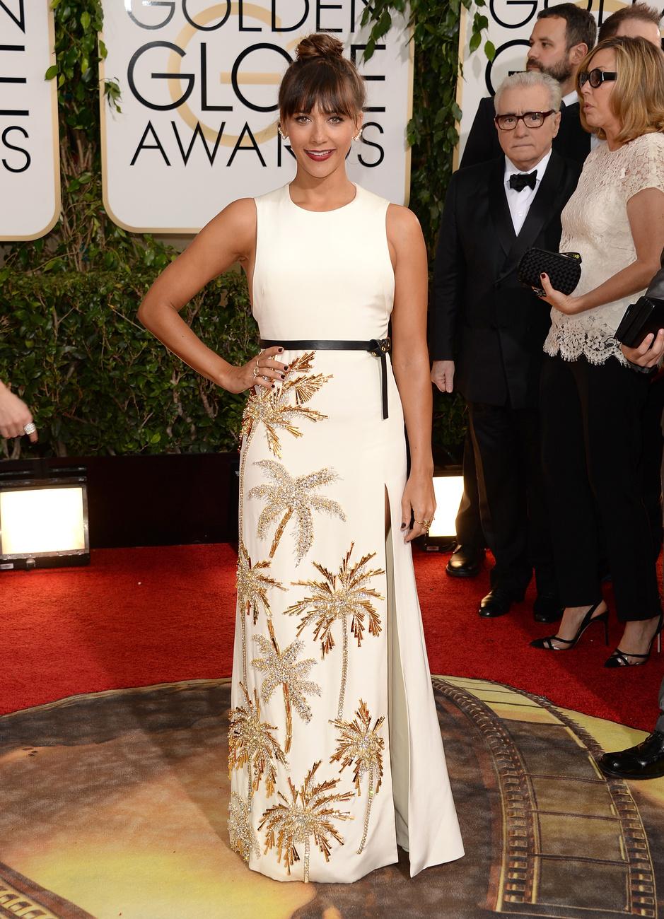 Caitlin Fitzgerald Emilia Wicksteadtől kapott ruhát a vasárnapi Golden Globe gálára.
