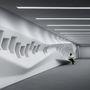A belsőteret erősen meghatározza a fehér szín.