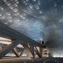 A homlokzatot 45000 különböző méretű és formájú alumínium panelből rakták ki.