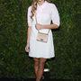 Harley Viera-Newton Chanelben mosolyog a Chanel-vacsorán, április 22-én.