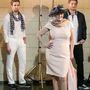 A férfiak fekete-fehér Lagerfeld ruhákban állnak a háttérben.