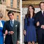 Charles és Diana 1981-ben, eljegyzésük hiavtalos fotózására tartva, Katalin és Vilmos 2010 novemberében, eljegyzésük bejelentésekor. Ugyanaz a gyűrű, ugyanaz a kéztartás, hasonló kék ruha.
