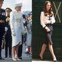 Mindkettejüknek jól áll a military stílus: Diana 1987-ben egy Catherine Walker kosztümben vesz részt egy katonai parádén  Surrey-ben, Katalin 2014-ben a Bletchley Parkban Alexander McQueen ruhában sétál.