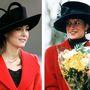Mindkettejüknek jól áll a piros a fekete kalap meg mintha ugyanaz lenne: Katalin a Berkshire-i katonai akadémián 2006-ban, Diana Sandringhamben 1993 karácsonyán.