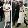 Diana 1981-ben, első hivatalos walesi látogatásán öltözött bézsbe. Katalin itt még Kate Middletonként vesz részt a Cheltenham derbin, 2006-ban.