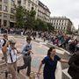 A flashmob keretében charlestont táncoltunk a Bazilikánál