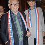 Pierre Cardin és Maryse Gaspard a provokatív tervező bemutatóján.